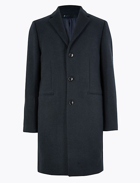 Single Breasted Longline Overcoat