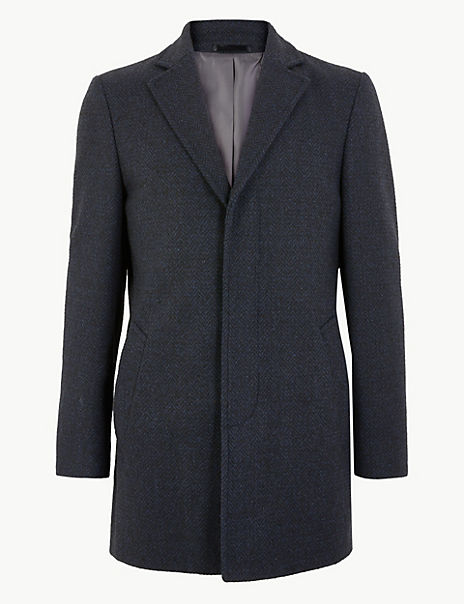 Textured Wool Blend Overcoat