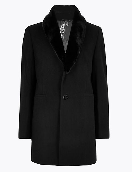 Wool & Faux Fur Trim Evening Coat