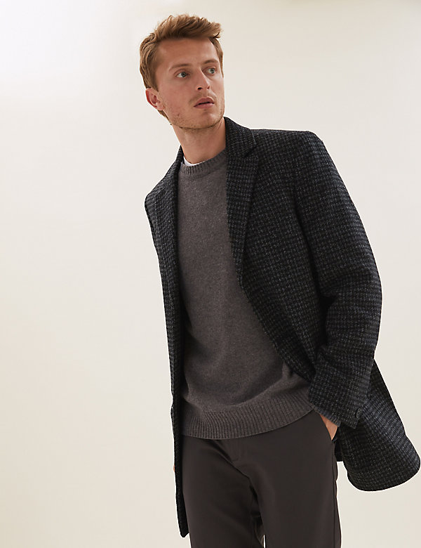 Revere Puppytooth Overcoat with Wool
