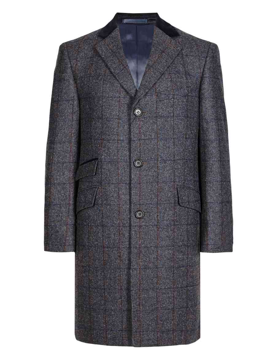 1a5bdcedcfd Luxury Pure British Wool Checked Coat