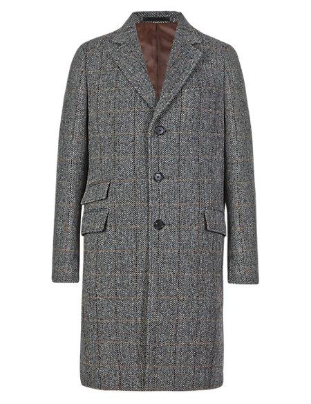 Pure Wool Tailored Fit Harris Tweed Herringbone Jacket