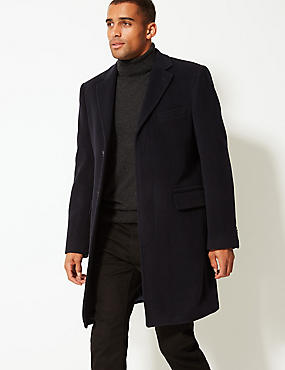 Wool Rich Coat with Cashmere, NAVY, catlanding