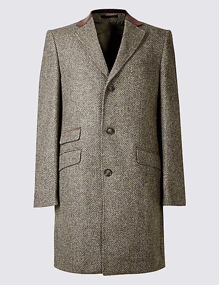 Pure Wool Single Breasted Overcoat