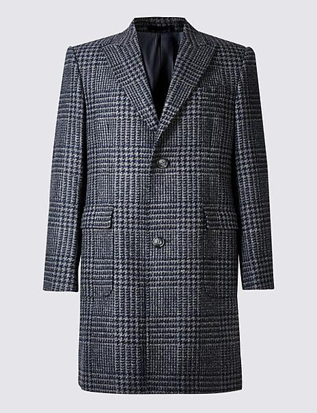 Pure Wool Peak Collar Overcoat
