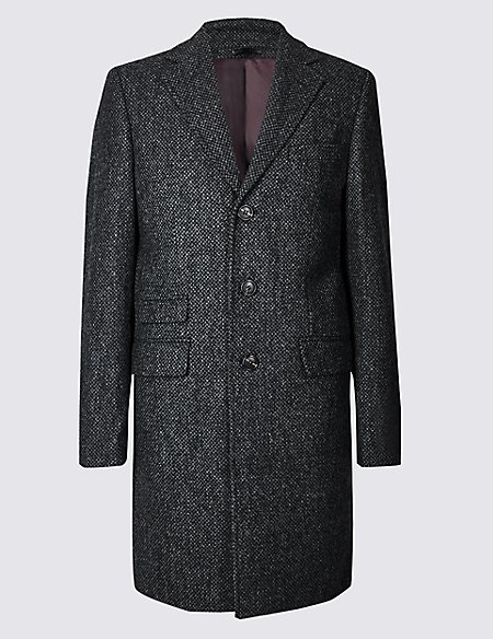 Pure Wool Textured Overcoat