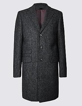 Pure Wool Textured Overcoat
