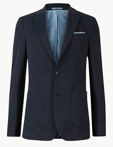 Big & Tall Indigo Cotton Blend Slim Fit Jacket