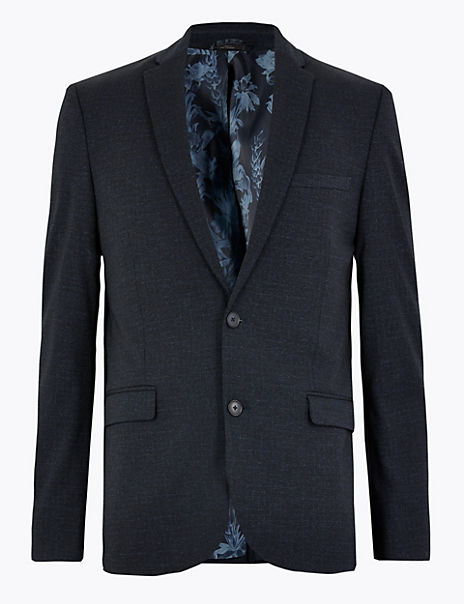 Checked Skinny Fit Jacket
