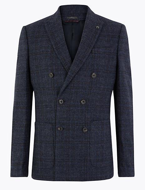 Slim Fit Wool Blend Checked Jacket