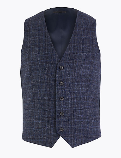 Slim Fit Wool Mix Checked Waistcoat