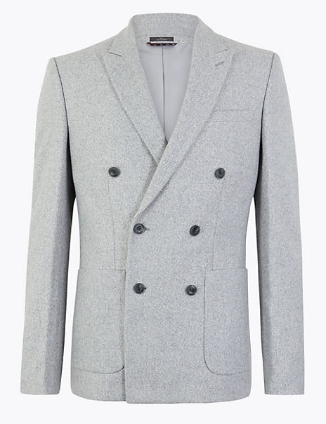 Slim Fit Wool Blend Double Breasted Jacket