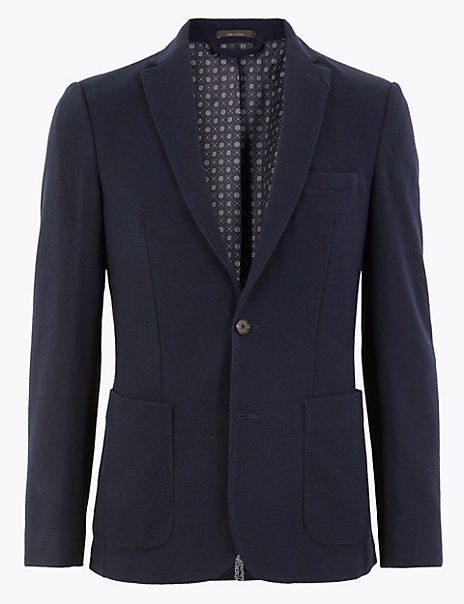 Slim Fit Wool Blend Jacket with Stretch