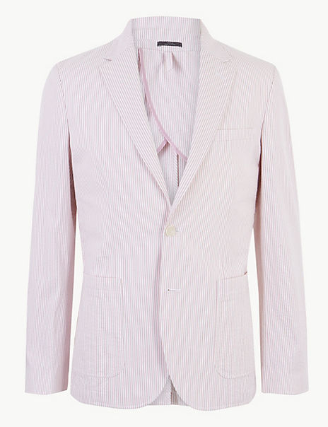 Striped Tailored Fit Cotton Jacket