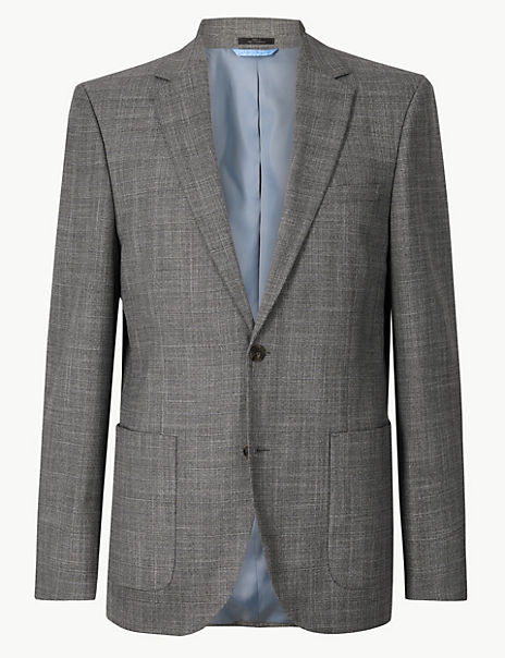 Grey Checked Tailored Fit Jacket