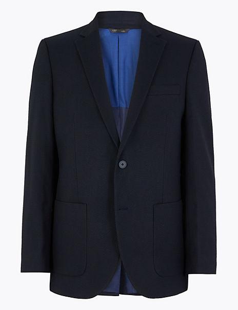 Navy Regular Fit Textured Jacket