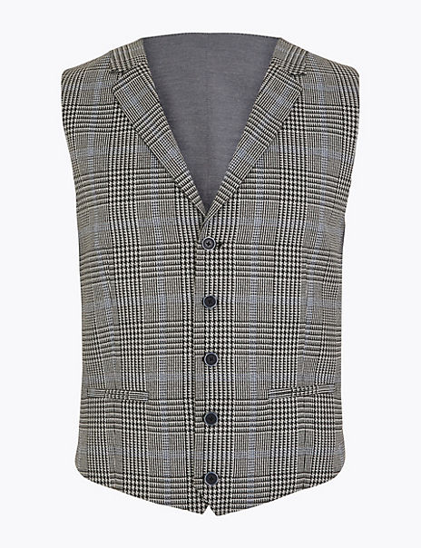 Regular Fit Checked Waistcoat