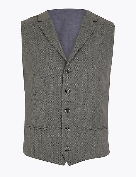 Regular Fit Textured Waistcoat