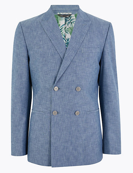 Slim Fit Cotton Double Breasted Jacket