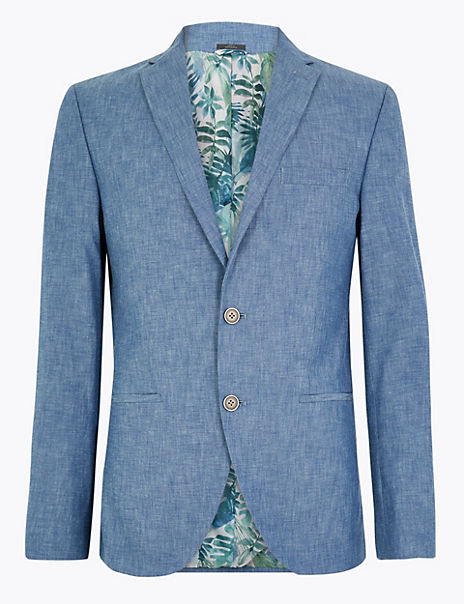 Slim Fit Cotton Chambray Jacket