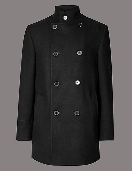 Wool Blend Funnel Neck Overcoat