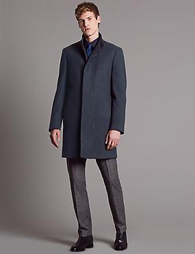 Wool Blend Funnel Neck Coat, BLUE MIX, catlanding