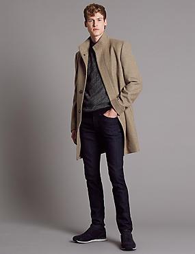 Wool Blend Funnel Neck Coat, NEUTRAL, catlanding