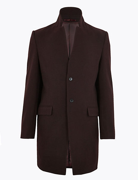 Wool Notched Collar Overcoat