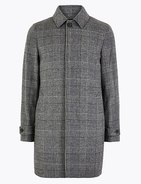 Wool Rich Checked Overcoat