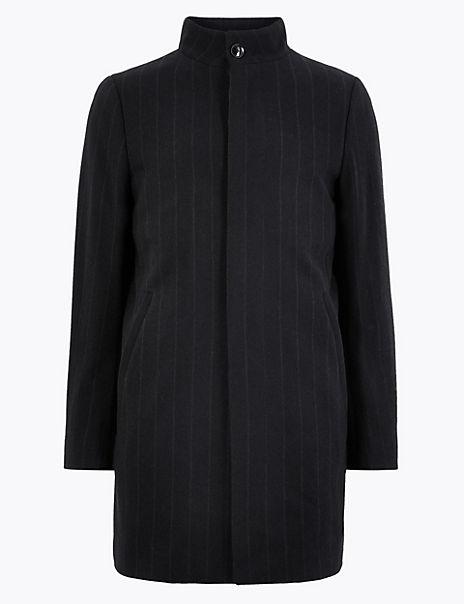 Wool Pinstripe Funnel Neck Overcoat