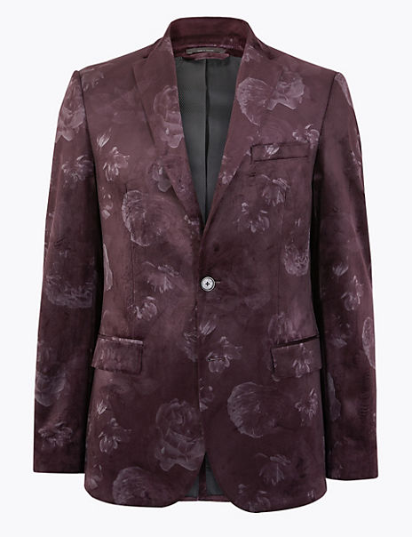 Slim Fit Velvet Floral Print Jacket