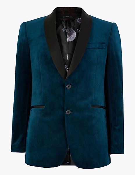 Slim Fit Velvet Shawl Collar Jacket