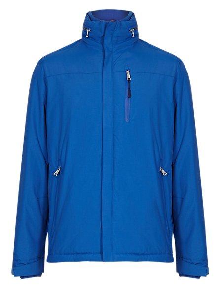 Water Resistant Concealed Hood Mock Layer Jacket