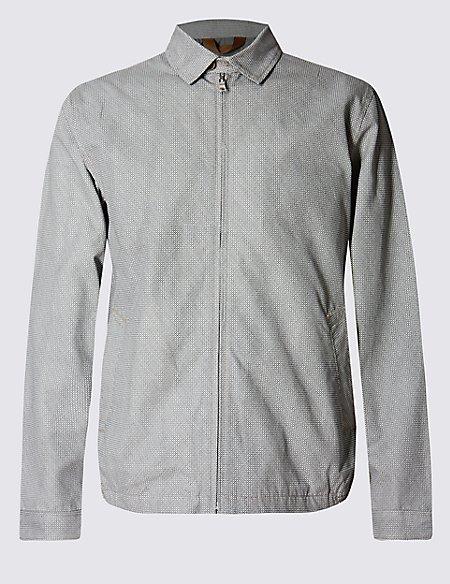 Pure Cotton Printed Harrington Bomber Jacket