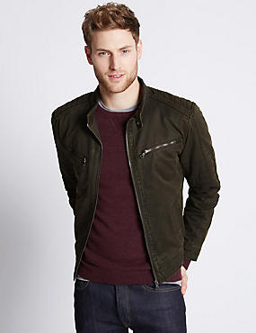 Washed Cotton Blend Biker Jacket
