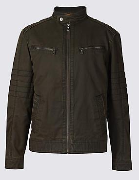 Washed Cotton Blend Biker Jacket