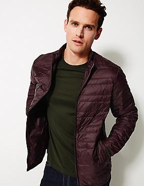 Down & Feather Jacket with Stormwear™, WINE, catlanding