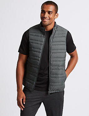 Down & Feather Gilet with Stormwear™ , LIGHT GREY MIX, catlanding