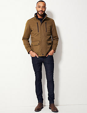 Cotton Blend Car Coat with Stormwear™, TOBACCO, catlanding