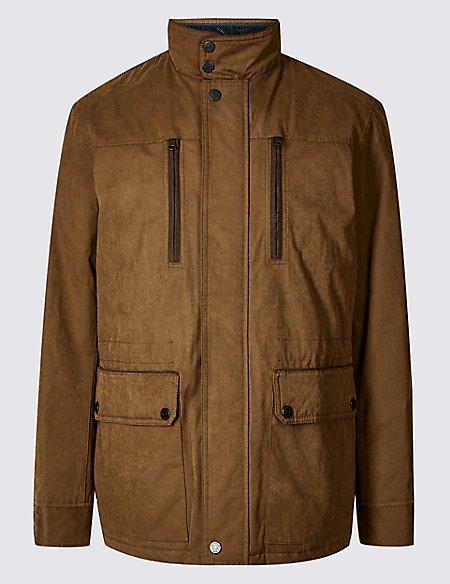 Cotton Blend Car Coat with Stormwear™