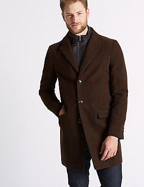 Pure Cotton Moleskin Revere Overcoat