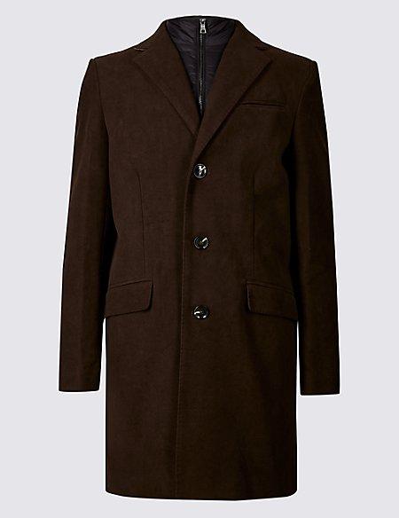 Pure Cotton Moleskin Revere Overcoat