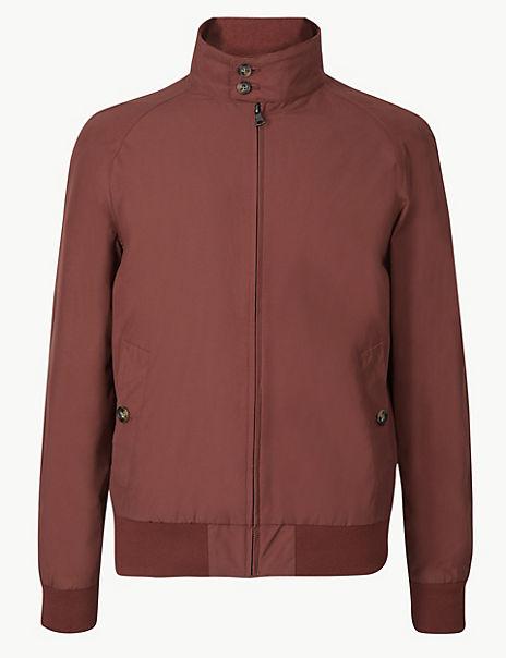 Cotton Blend Harrington Jacket