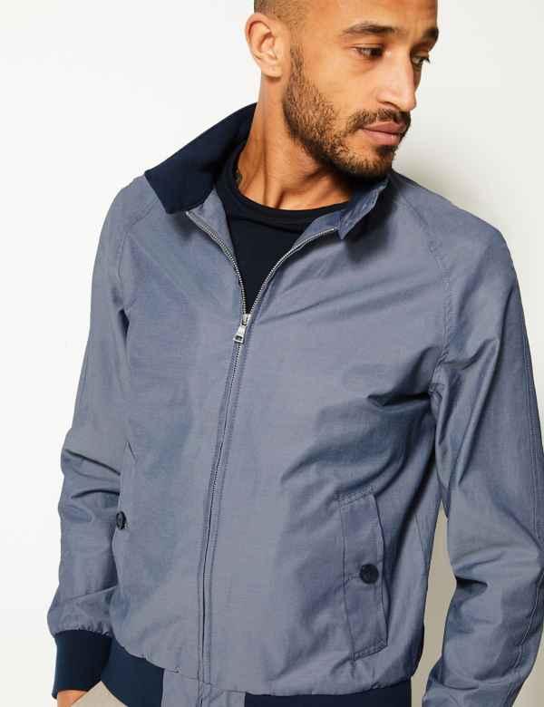 d23730222d04 Cotton Blend Harrington Jacket