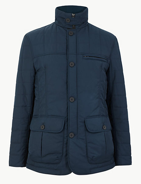 Funnel Neck Quilted Puffer Coat