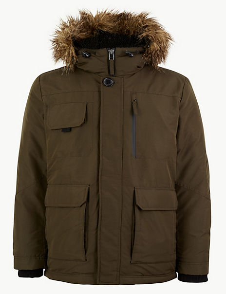 Faux Fur Trim Parka with Thermowarmth™