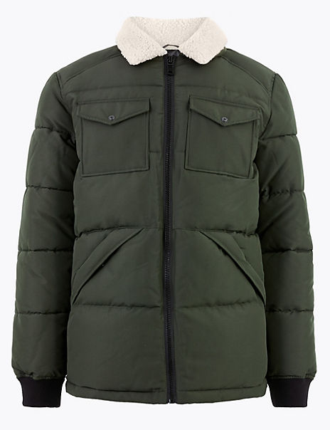 Borg Collar Puffer Jacket with Thermowarmth™