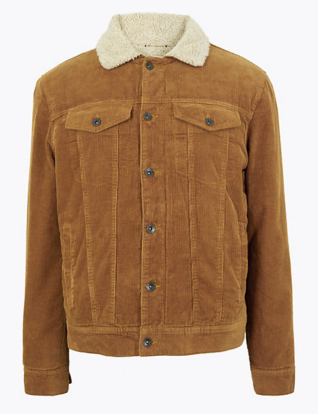 Pure Cotton Corduroy Borg Lined Jacket