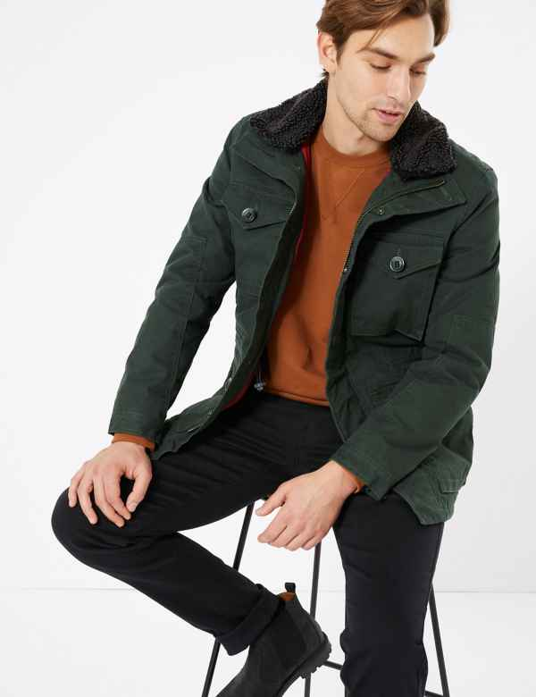clp60282942: Cotton Borg Lined Jacket