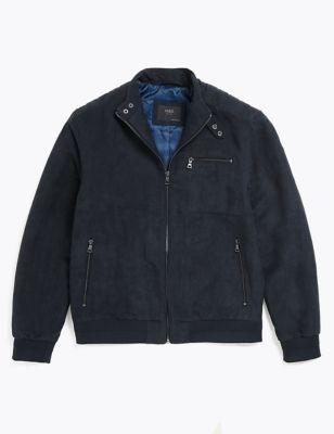 Faux Suede Padded Biker Jacket